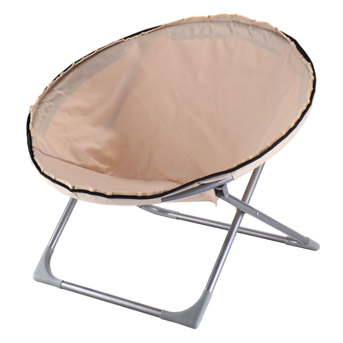 Amazon.com: Giantex Oversized Large Folding Saucer Moon Chair Corduroy Round  Seat Living Room (Beige): Kitchen U0026 Dining