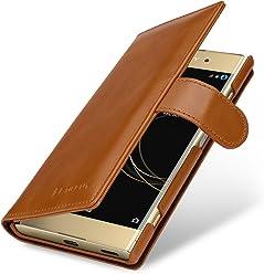 StilGut Talis, Housse Sony Xperia XA1 Plus avec Porte-Cartes en Cuir véritable. Etui Portefeuille à Ouverture latérale et Languette magnétique pour pour Sony Xperia XA1 Plus, Cognac