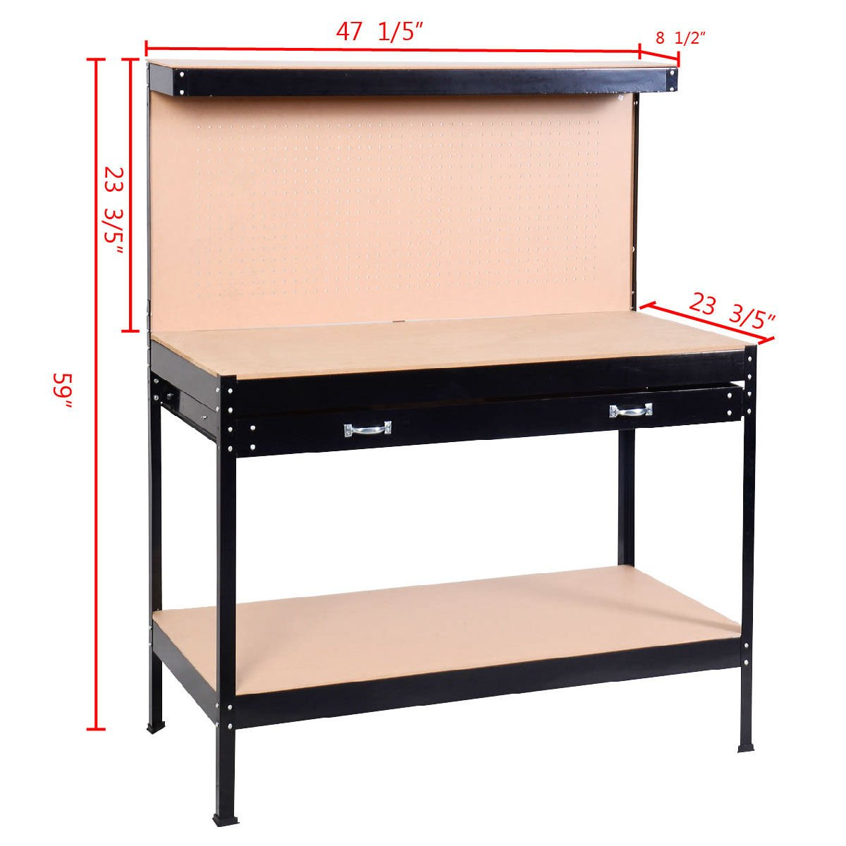Work Bench Tool Storage Steel Frame Workshop Table W/ Drawer & Peg Board by Allblessings (Image #3)