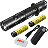 Nitecore MH12GTS 1800 Lumen Long Throw USB Rechargeable Flashlight with 2 High Performance Batteries and LumenTac Organizer