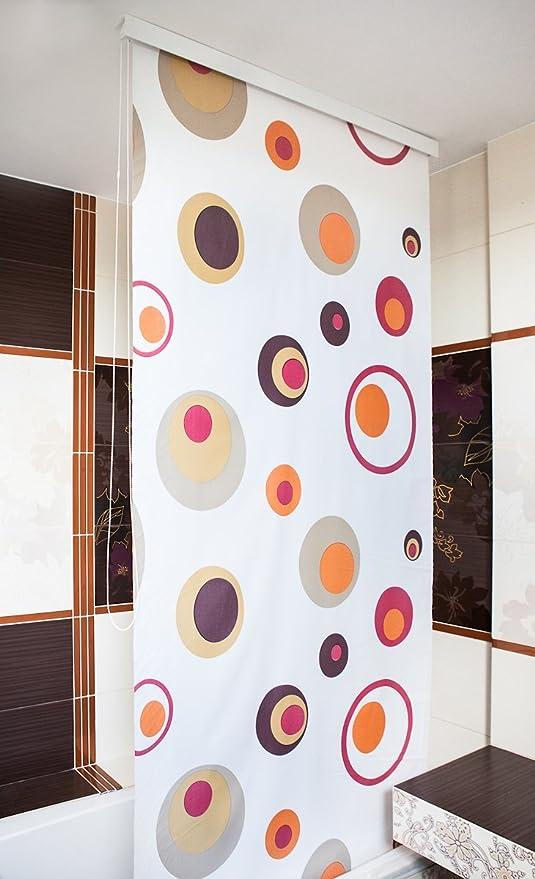 Media-Caja de ducha 160 cm, diseño de persiana EXTRA grande, modelo coloreado-Cortina de ducha, color rojo, naranja y marrón.: Amazon.es: Hogar