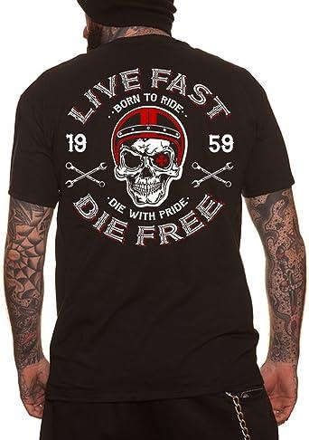 Dragstrip Clothing Mens Hooded Top Live Fast Die Free Hot Rod Hoody Biker Hoody