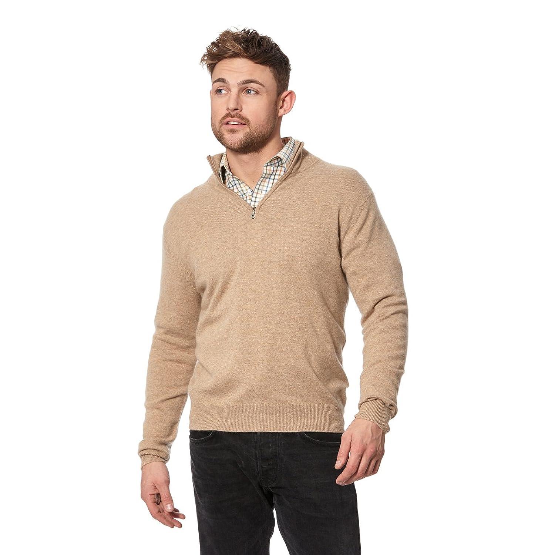 Gents Cashmere Half Zip Sweater Marble