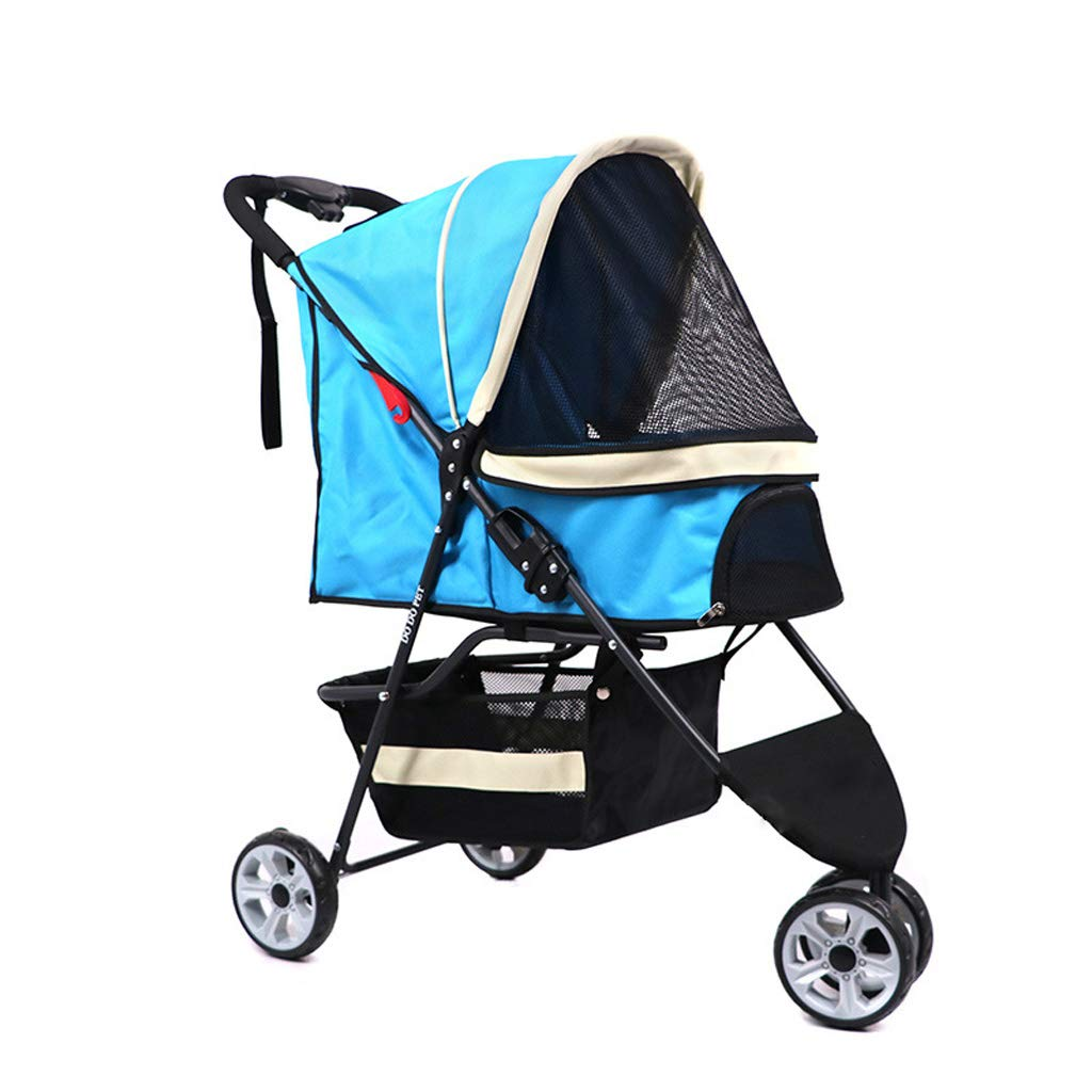 bluee JKL Pet car, Dog or cat Luxury pet Stroller, Easy Folding 3 Round Travel pet car, Suitable for 12kg Pets (color   bluee)