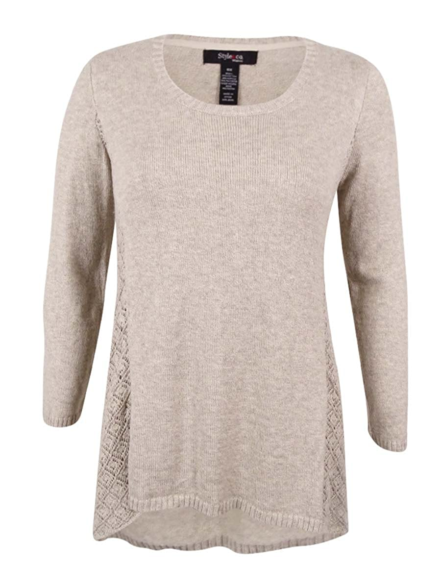 Style & Co. Womens Plus Pointelle Asymmetric Pullover Sweater Beige 2X STYLE & COMPANY 35399-171
