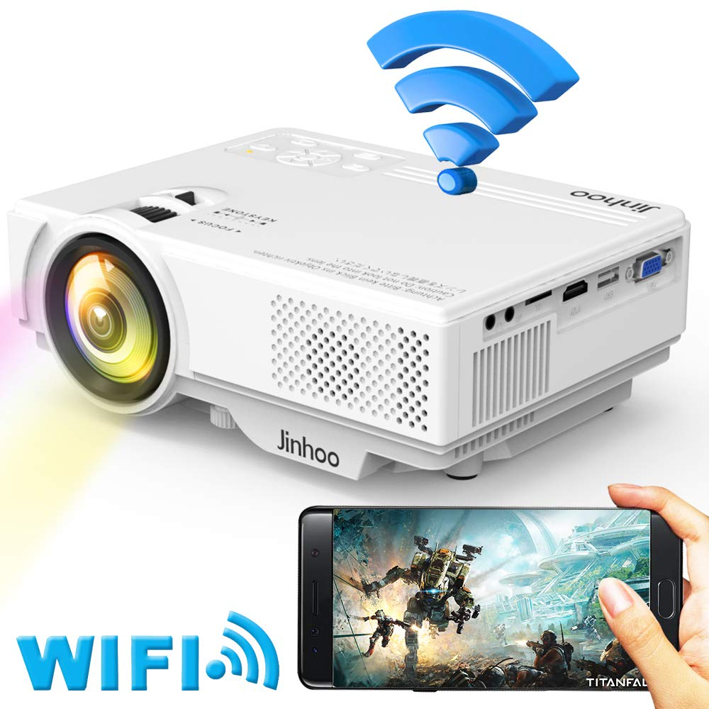 WiFi Mini Projector, Jinhoo 2019 Newest 1080P Supported, 2800 Lux HD Home Theater Projector with 176'' Projector Size, 50000 Hours Lamp Lifetime, Compatible with TV Stick, HDMI, USB, SD, VGA