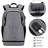 Travel Laptop Backpack with USB Charging Port and Headphone Hole Large Business Canvas Backpack Anti Theft for Men Women School Student Bookbag with Basketball Compartment Fit Under 18.5 Inch PC Noteb