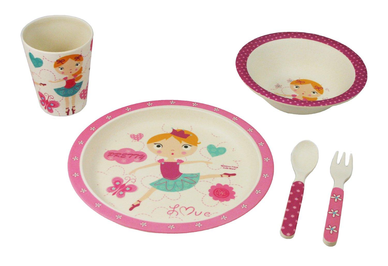 Ecobamboo Ware Kidstoddlers Bamboo Dinnerware Set Ballerina5