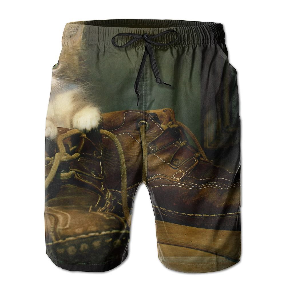 Cute Cat in Boots Men's Tie Tropical Quick Drying Shorts Swimming Volleyball Beach Trousers