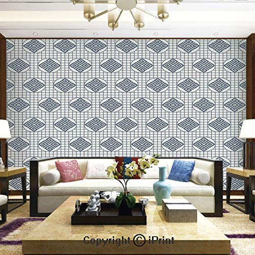 - Mural Wall Art Photo Decor Wall Mural for Living Room or Bedroom,Japanese Grid Pattern with Abstract Shapes in Circles Traditional Asian Motifs Decorative,Home Decor - 66x96 inches