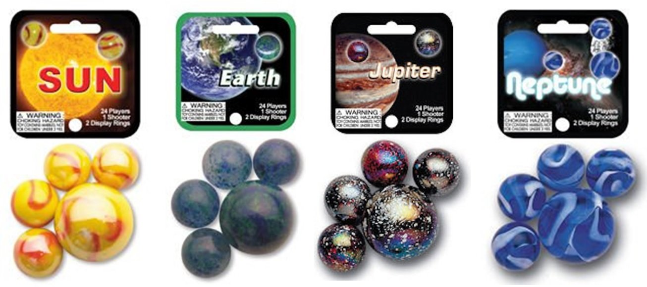 MegaFun USA Solar System Marble Set 4 Pack Bundle with Sun Earth Jupiter and Neptune