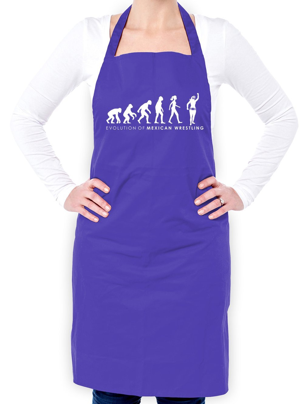 Evolution of Woman Mexican Wrestler - Unisex Fit Apron - Purple - One Size