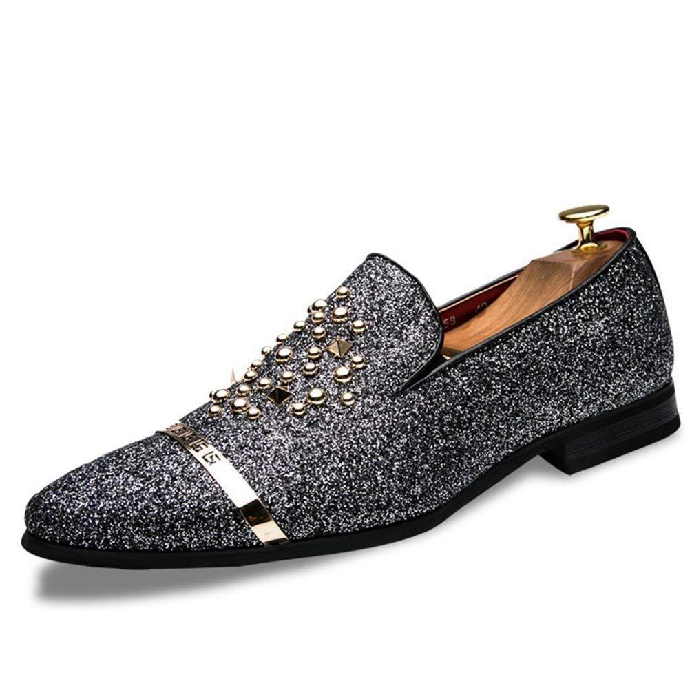 ZHRUI Männer Müßiggänger Luxus Diamant Strass Stachelnieten Schuhe Rote Untere Hochzeit Schuhe (Farbe   Silber, Größe   8 UK)