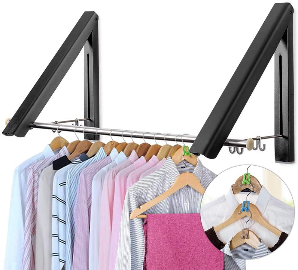 LIVEHITOP Wall Mounted Drying Rack, 2 Pcs Folding Clothes Hanger Coat Hanging Rail with Rod Hooks for Bathroom Balcony Wardrobe Motorhome (Black, Rod)