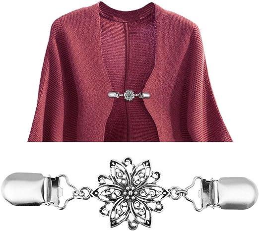 Level Great 4pcs Set Clips Collar Retro de la Chaqueta de Punto del Clip Muchachas de Las Mujeres Vestidos de aleaci/ón Mant/ón Buckles