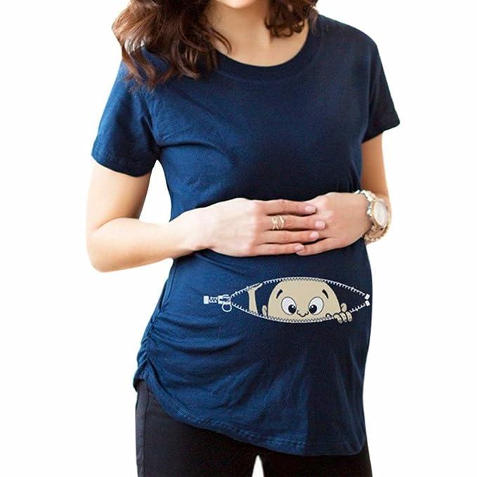 MEIHAOWEI Baby Zipper Printed T-Shirt Embarazo Embarazada Camisetas de maternidad: Amazon.es: Ropa y accesorios