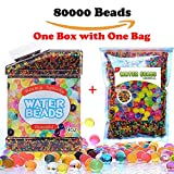 Water Beads,Rainbow Mix Water Growing Gel Balls for Home Decoration,Orbeez Refill,Vase Filler,Kids Tactile Toys,Sensory Toys(80000 Beads,One Box with one bag)