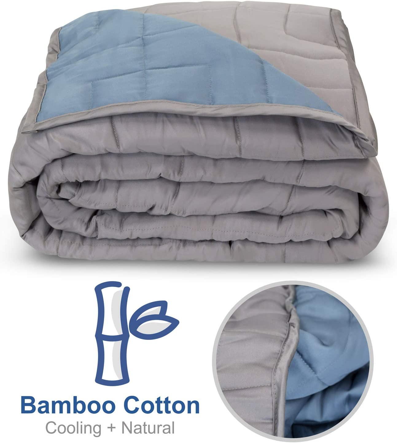 """Moonstone Bamboo Cooling Weighted Blanket - 10 lbs Cooling Heavy Weighted Blanket for Adults (60"""" W x 80"""" L - Blue & Gray)"""