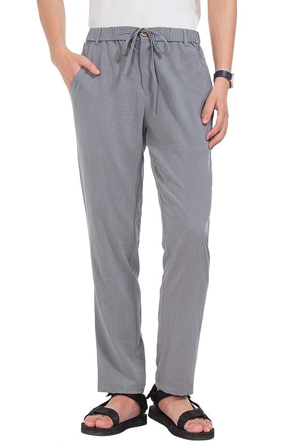 33dc3e870104 Yostylish Beach Trousers for Men Drawstring Casual Elastic Waistband Summer  Pants