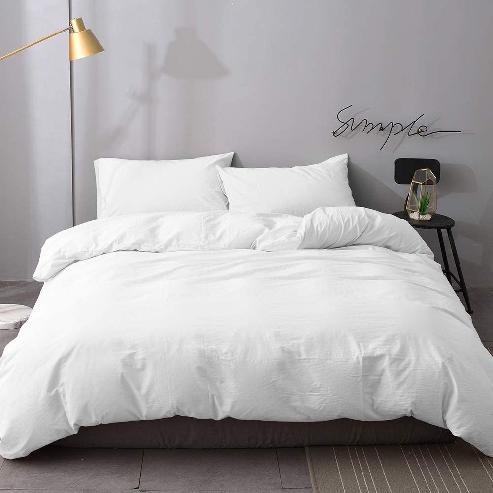 UEU Duvet Cover Set Queen,100% Washed Cotton,3-Piece Bedding Duvet Cover,Cool Breathable,Thread Count,Fabric Softness,Warmth(White, Queen)