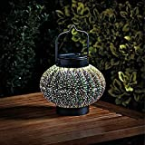 Homezone® Large 3D Hologram Cosmos Solar LED Lantern Round Hanging Patio Table Lantern Or Window Centrepiece Indoor Or Outdoor Multicolour Garden Lighting