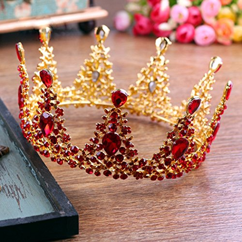 Jovono Bridal Wedding Crowns and Tiaras Baroco Red Austrian Drilling Queen Style Style for Women and Girls