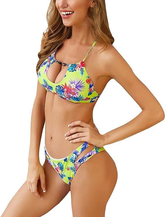 Mujeres Sexy Correas Swimsuit de Estampado de Leopardo Bikinis Mujer 2019 Brasileños Bañador Ropa de Dos Piezas Push up con Relleno Traje de Baño de Tubo Color Liso Bikinis Mujer 2019 Push