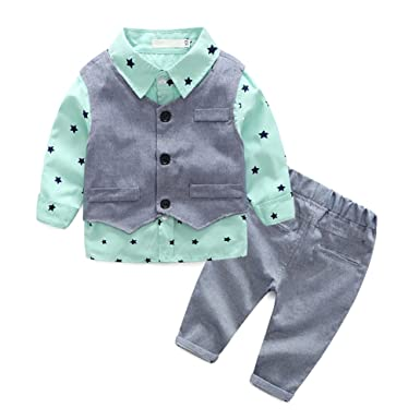 fa53abe883201 ベビー ボーイズ フォーマル スーツ 子供服 男の子 シャツ ベスト パンツ ロングズボン 上下 3点セット