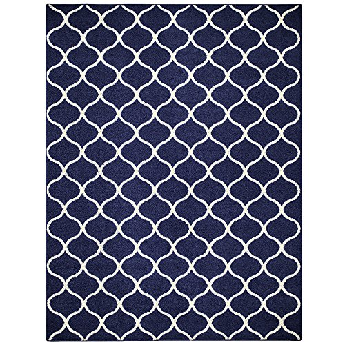 Maples Rugs Rebecca 7 x 10 Large Area Rugs [Made in USA] for Living, Bedroom, and Dining Room, Navy Blue/White