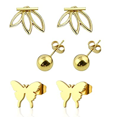 Amazoncom Jinina Gold Lotus Flower Stud Earrings Ball Stud