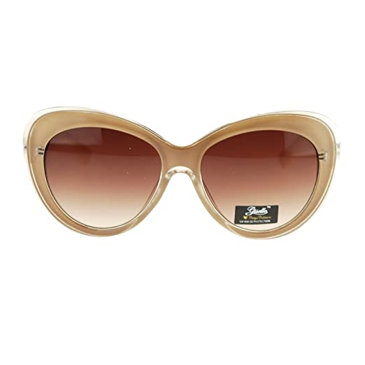 ebf68dadfa73 Amazon.com  Giselle Womens Thick Plastic Cat Eye Designer Fashion Sunglasses  Beige  Clothing