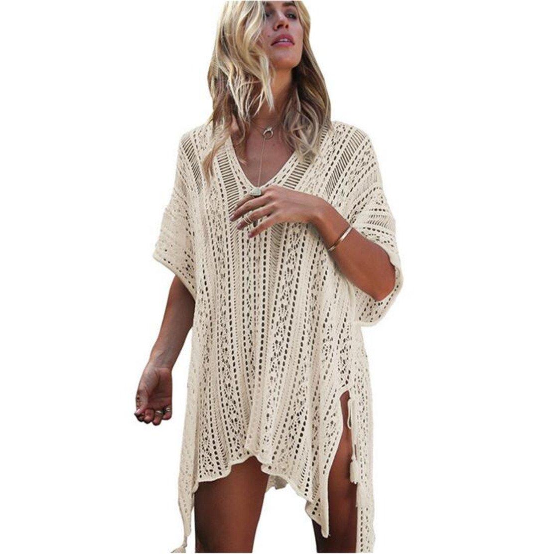 Traje de baño de punto de mujer túnica de ganchillo bata de playa ...