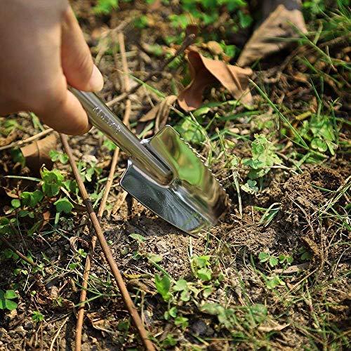 Asvert Garden Tool Set 3 Pieces Stainless Steel Gardening tool with Handle Trowel and Rake Non-Slip Gift for Garden-Lovers