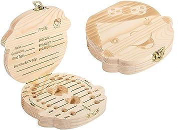 bebé dientes caja, dientes de leche de madera Caja de recuerdos Caja de recuerdos Organizador de almacenamiento para niños Ahorre 3-6 años(Girl English): Amazon.es: Bricolaje y herramientas