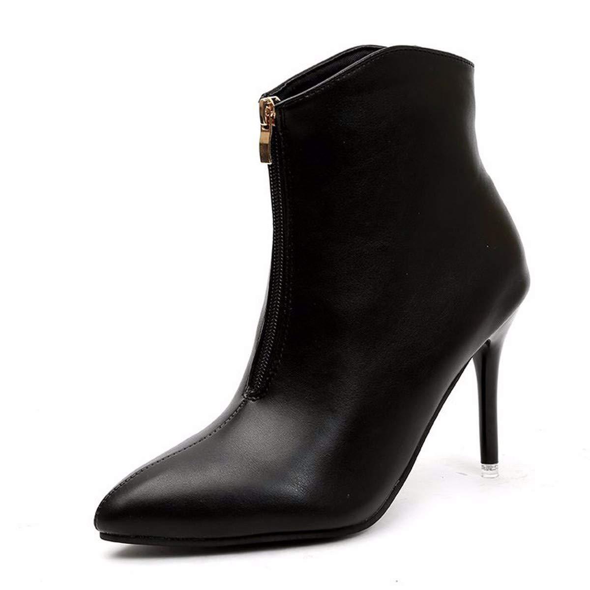 LBTSQ-Mode/Damenschuhe/Schwarz Mit Hohen 10Cm - Reißverschluss Spitzer Kopf Samt Warm Schön Bei Fuß Single - Stiefel.