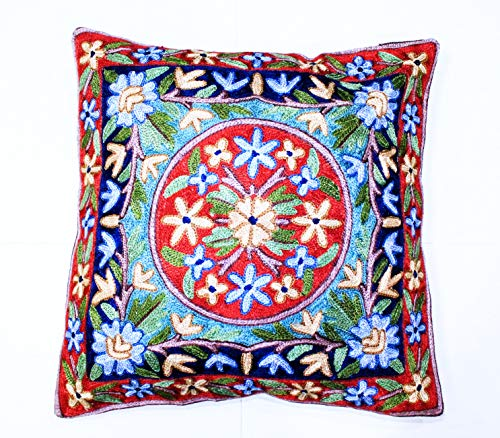 ZARMIN BEDDING ESSENTIALS Pillow Cover Elite Limited Collection of Kashmiri Hand Crafted Square Decorative 16 x 16 inch Cushion Covers for Indoor use on Bed or Sofa (ART-21 MANASLU). Set of Two.