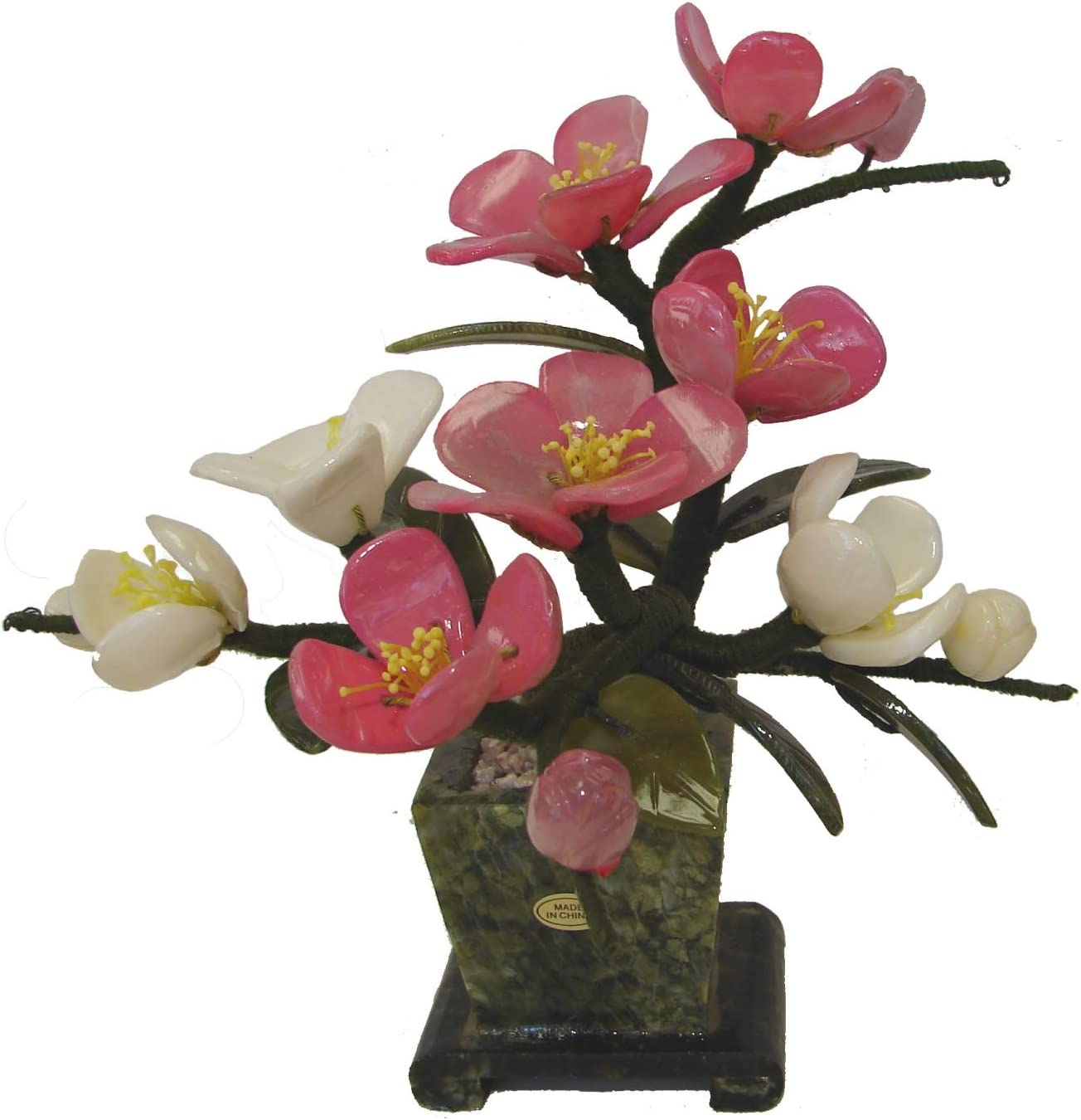 Feng Shui Import Chinese Jade Peony Flower Plant Bouquet with Jade Vase