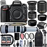 Nikon D750 24.3MP 1080P DSLR Camera w/ Wi-Fi & GPS Ready + 6 Lens - 15 to 2600mm - 128GB - 30PC Kit - Nikon 50mm 1.8D - Nikon 55-200VR - Opteka 15mm - 650-2600mm - 2.2x Tele - 0.43x Wide/Macro