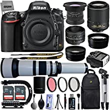 Nikon D750 24.3MP 1080P DSLR Camera w/ Wi-Fi & GPS Ready + 6 Lens - 15 to 2600mm - 128GB - 30PC Kit - Nikon 50mm 1.8D - Nikon 55-200VR - Opteka 15mm - 650-2600mm - 2.2x Tele - 0.43x Wide/Macro