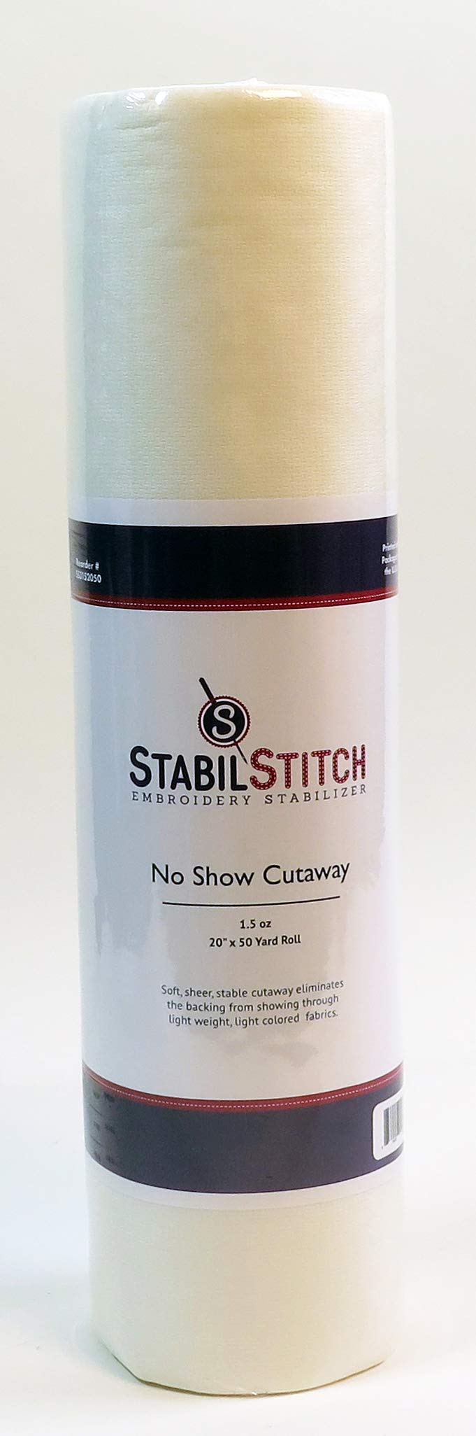 No Show (1.5 oz.) Cutaway 20'' x 50 Yd Roll - Embroidery Stabilizer by StabilStitch