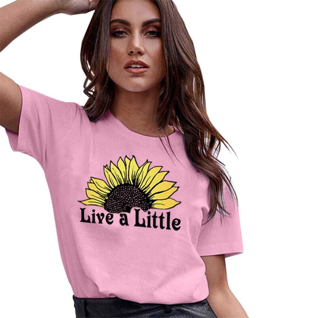 New Women's T-Shirt, Share Women's Fashion Sunflower Pattern T-Shirt top Summer Casual O-Neck Short Sleeve(Pink,L) by Sharemen T-shirt