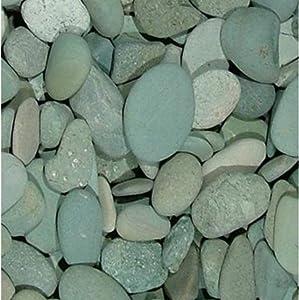 4 Pounds Accent Rocks, 2 x 32 oz Bags, Outdoor Decorative Stones for Craft Projects, Vase Fillers, Succulents, Cactus Pots, Terrarium Plants (Green Seaside Beach Pebbles)