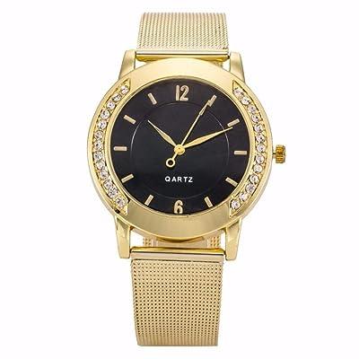 Creazy Fashion Women Crystal Golden Stainless Steel Analog Quartz Wrist Watch : Sports & Outdoors