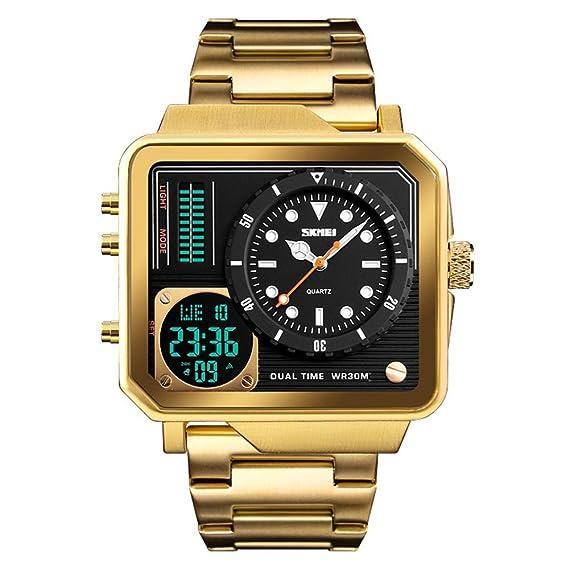FeiWen Lujo Fashion Hombre Deportivo Digitales Relojes LED Cuarzo Analógico Doble Tiempo Multifuncional Electrónica Cronógrafo Alarma