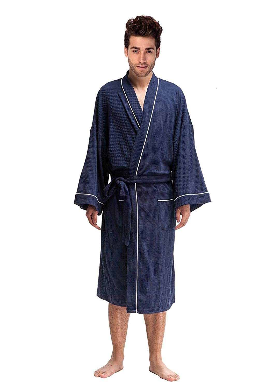 68595d7298 DandyChic Men s Kimono Cotton Robes Lightweight Spa Robe Bathrobes  Nightwear- Long at Amazon Men s Clothing store