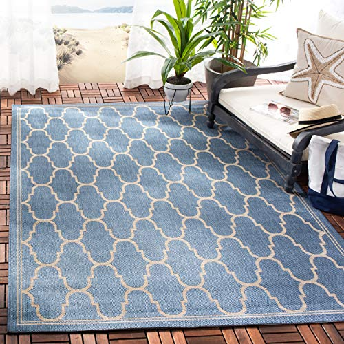 Safavieh Courtyard Collection CY6016-243 Blue and Beige Indoor/ Outdoor Area Rug (4' x 5'7