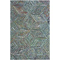 Safavieh Nantucket Collection NAN607A Handmade Abstract Blue Cotton/ Premium Runner Rug (23 x 8)