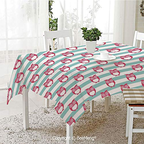 BeeMeng Large dustproof Waterproof Tablecloth,Family Table Decoration,Owl,Large Flower Eyed Owls Pattern Better Positive Perspective Hope Modern Illustration Decorative,Turquoise Pink,70 x 104 -