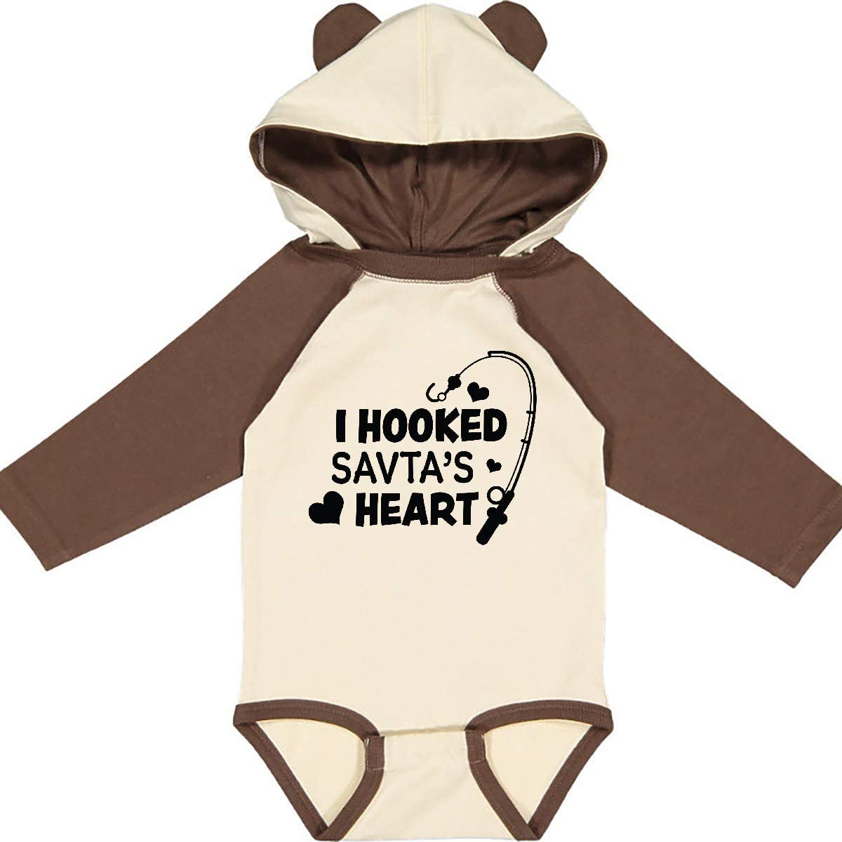 inktastic I Hooked Savtas Heart with Fishing Rod Long Sleeve Creeper