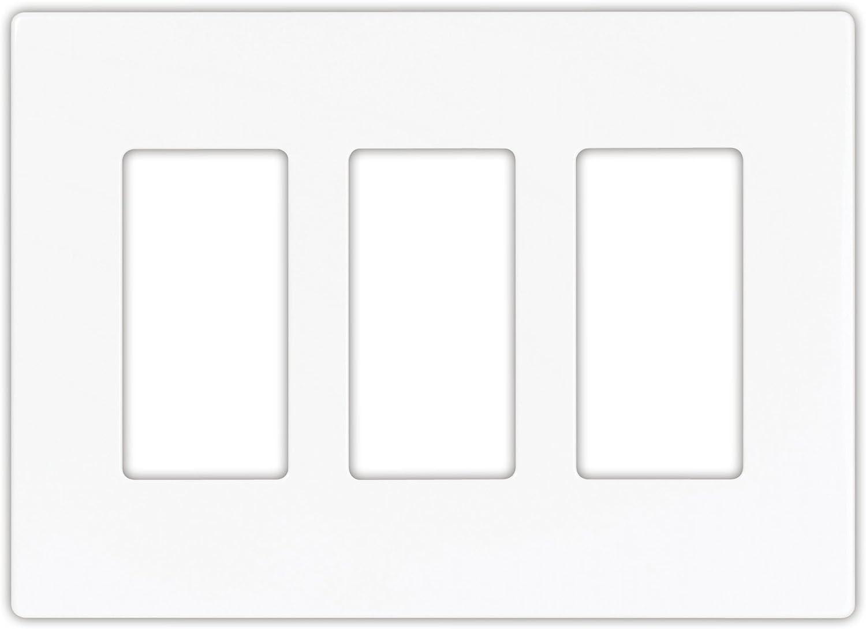 EATON PJS263W Arrow Hart Pjs263 Decorative Screw less Wall Plate, 3 Gang, 4-1/2 In L X 6.37 In W X 0.08 In T, White